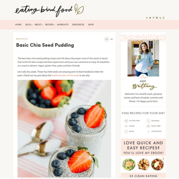 The best basic chia seed pudding recipe and info about the proper ratio of chia seeds to liquid. Start with this basic recipe and then experiment with your own variations to enjoy for breakfast, as a snack or dessert. Vegan, gluten-free, paleo and keto-friendly. Let's talk chia seeds.