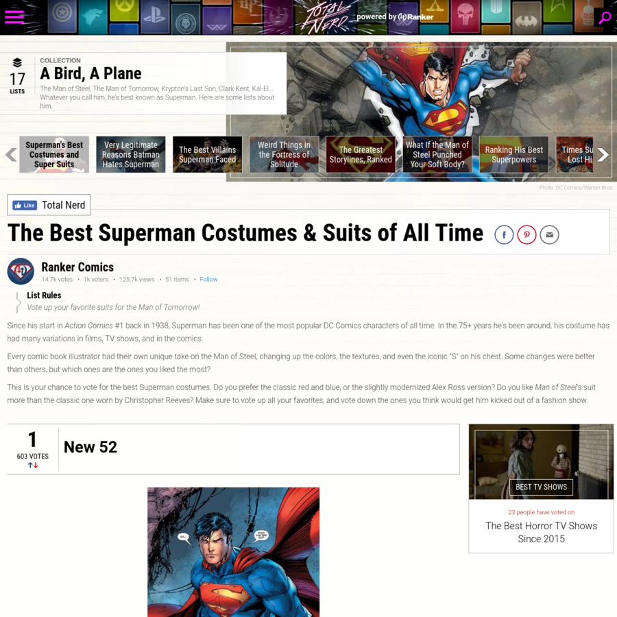 Since his start in Action Comics #1 back in 1938, Superman has been one of the most popular DC Comics characters of all time. In the 75+ years he's been around, his costume has had many variations in films, TV shows, and in the comics. Every comic book illustrator had their own unique ...