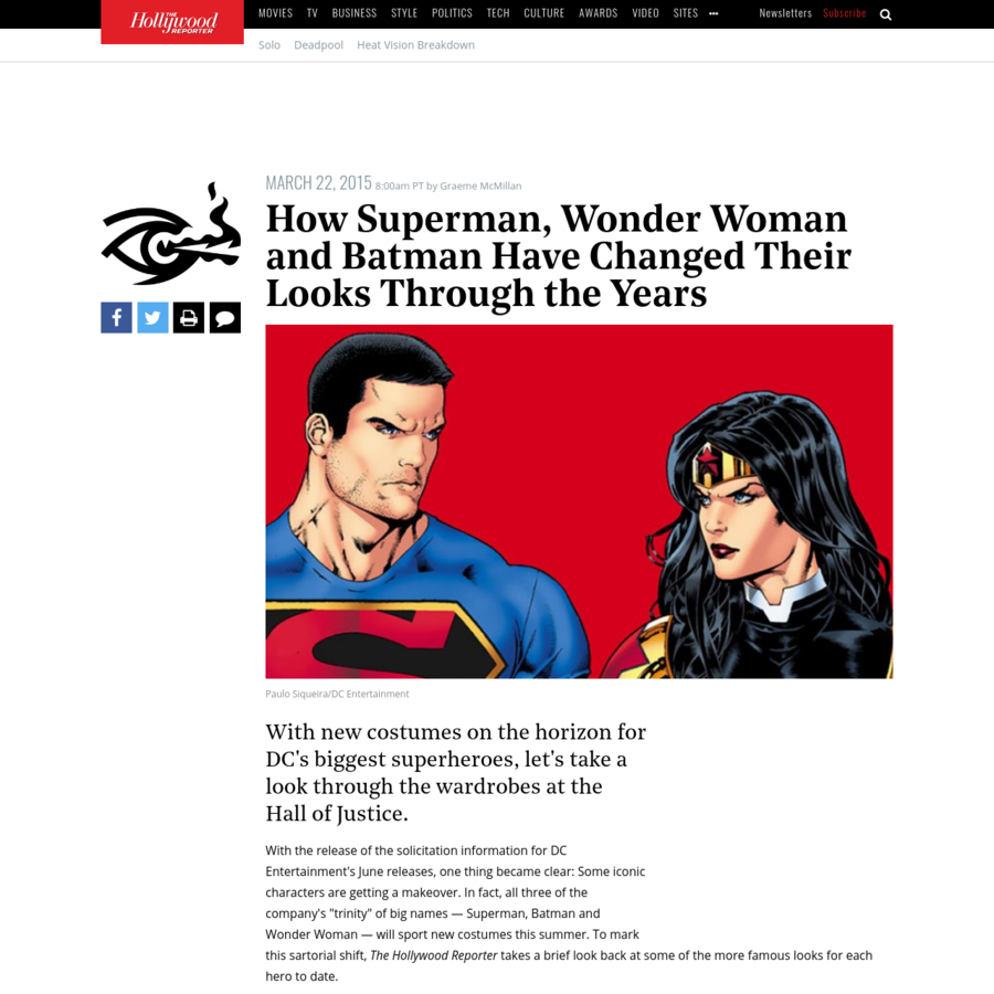 """With the release of the solicitation information for DC Entertainment's June releases, one thing became clear: Some iconic characters are getting a makeover. In fact, all three of the company's """"trinity"""" of big names - Superman, Batman and Wonder Woman - will sport new costumes this summer."""