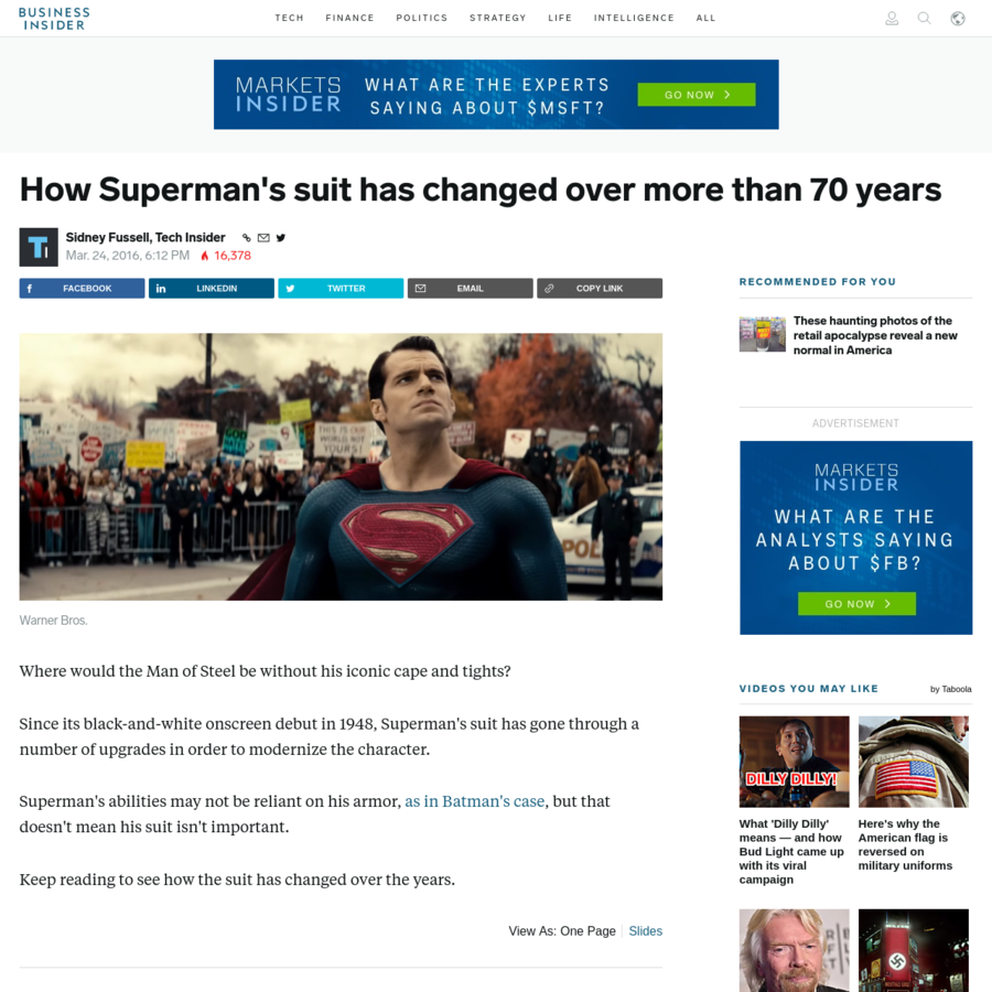 Where would the Man of Steel be without his iconic cape and tights? Since its black-and-white onscreen debut in 1948, Superman's suit has gone through a number of upgrades in order to modernize the character. Superman's abilities may not be reliant on his armor, as in Batman's case, but that doesn't mean his suit isn't important.
