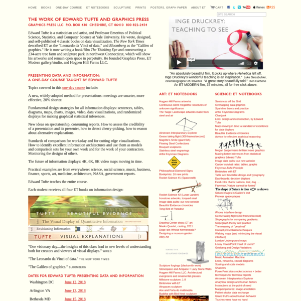 Edward Tufte home page for books, posters, sculpture, fine art and one-day course: Presenting Data and Information