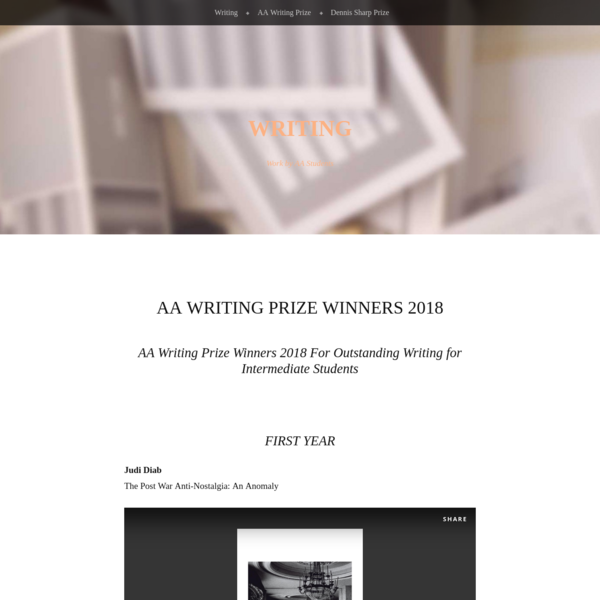 AA Writing Prize Winners 2018 - Writing