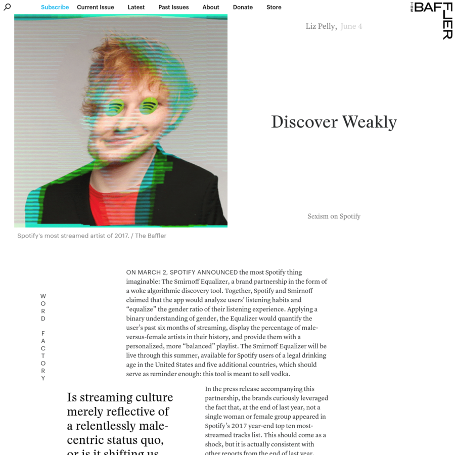 """On March 2, Spotify announced the most Spotify thing imaginable: The Smirnoff Equalizer, a brand partnership in the form of a woke algorithmic discovery tool. Together, Spotify and Smirnoff claimed that the app would analyze users' listening habits and """"equalize"""" the gender ratio of their listening experience."""