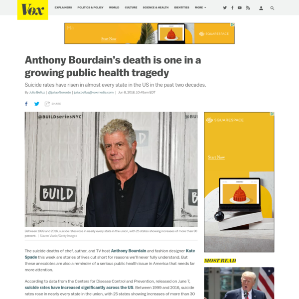 Anthony Bourdain's death is one in a growing public health tragedy - Vox