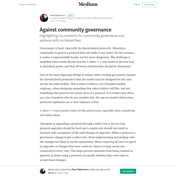 Governance is hard, especially for decentralized protocols. Allowing a community to govern a protocol does not make it any easier. On the contrary, it makes it exponentially harder and far more dangerous. The challenge is amplified when teams decide that the 1 token = 1 vote model is the best way to distribute power, and that all forms of hierarchies should be eliminated.