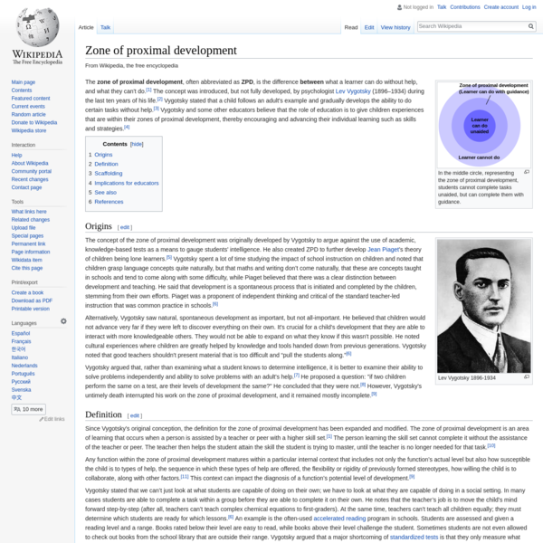 Zone of proximal development - Wikipedia