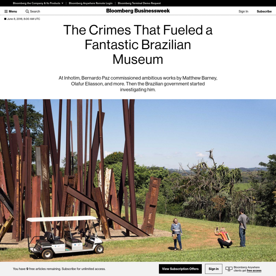In the hours after the twin towers fell in Lower Manhattan, Bernardo Paz had a flash of inspiration. He called up his curator, Ricardo Sardenberg, who was helping him create a private museum in the hills of southeastern Brazil. Paz had become rich by taking over bankrupt mining companies, and he sensed an historic opportunity to build a world-class art collection.