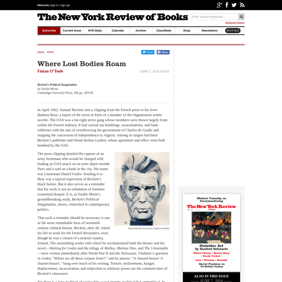 """The astonishing works with which Samuel Beckett revolutionized both the theater and the novel-Waiting for Godot and the trilogy of Molloy, Malone Dies, and The Unnamable-were written immediately after World War II and the Holocaust. Vladimir's question in Godot, """"Where are all these corpses from?,"""" and its answer, """"A charnel-house!"""