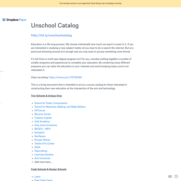Unschool Catalog