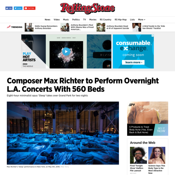 Composer Max Richter's 560-Bed 'Sleep' Concert Coming to Los Angeles