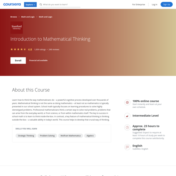 Introduction to Mathematical Thinking | Coursera