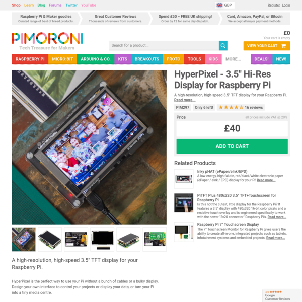 "A high-resolution, high-speed 3.5"" TFT display for your Raspberry Pi."