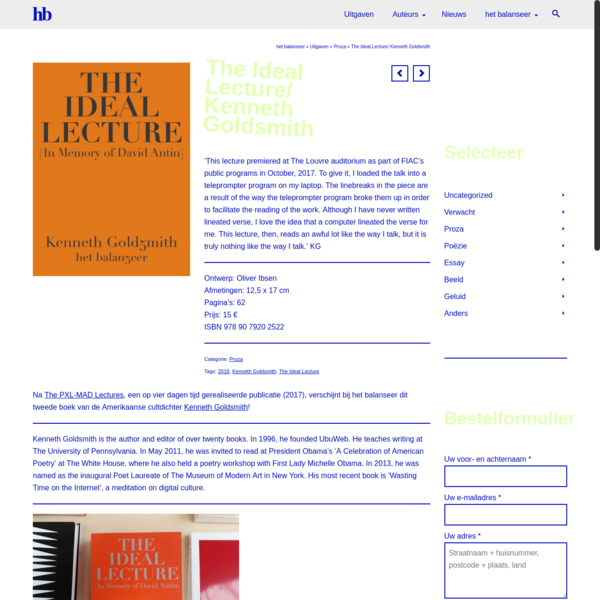 The Ideal Lecture/ Kenneth Goldsmith | h/b