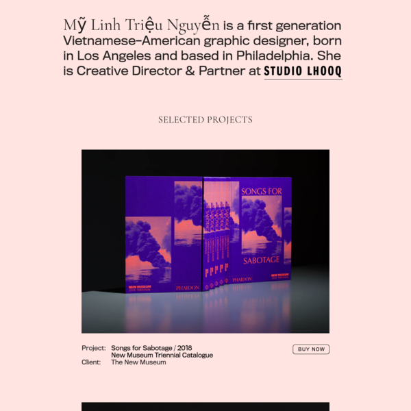 Mỹ Linh Triệu Nguyễn is a first generation Vietnamese-American graphic designer, born in Los Angeles and based in Philadelphia. She is Creative Director & Partner at STUDIO LHOOQ