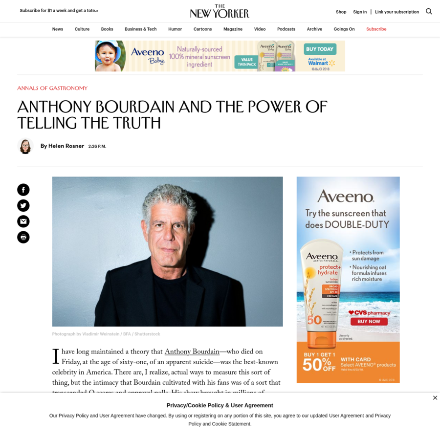 I have long maintained a theory that Anthony Bourdain -who died on Friday, at the age of sixty-one, of an apparent suicide-was the best-known celebrity in America. There are, I realize, actual ways to measure this sort of thing, but the intimacy that Bourdain cultivated with his fans was of a sort that transcended Q scores and approval polls.