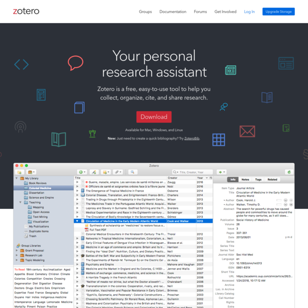 Zotero is a free, easy-to-use tool to help you collect, organize, cite, and share research.