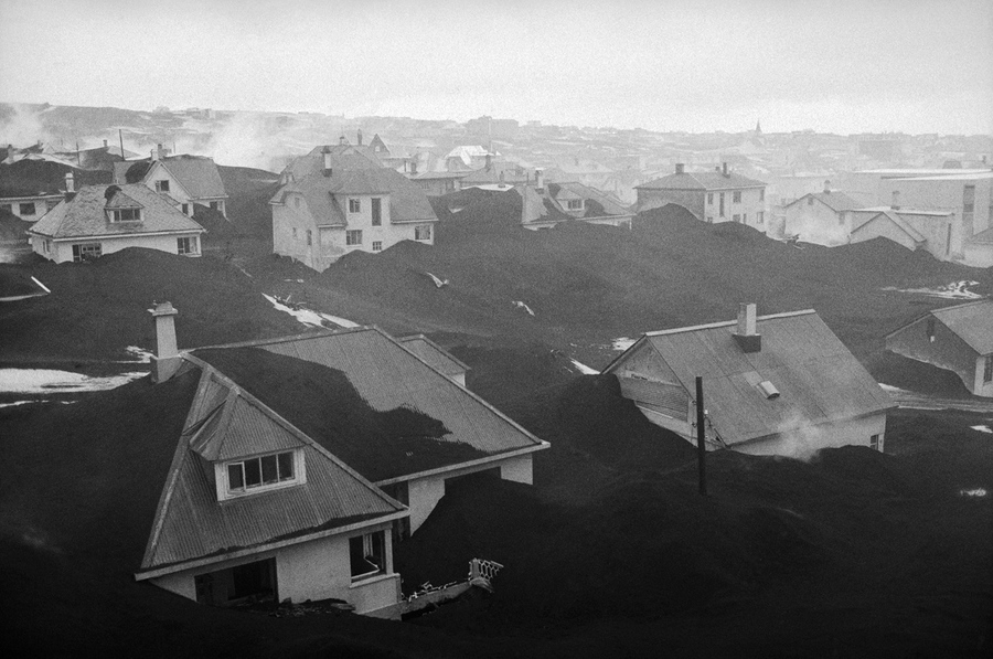 Ash-buried homes in Vestmannaeyjar, after the eruption of Eldfell volcano