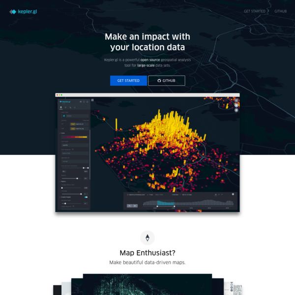 Kepler.gl is a powerful web-based geospatial data analysis tool. Built on a high performance rendering engine and designed for large-scale data sets.