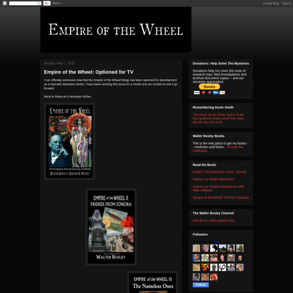 I can officially announce now that the Empire of the Wheel trilogy has been optioned for development as a dramatic television series. I have been working this issue for a month and am excited to see it go forward. More to follow as it develops further...