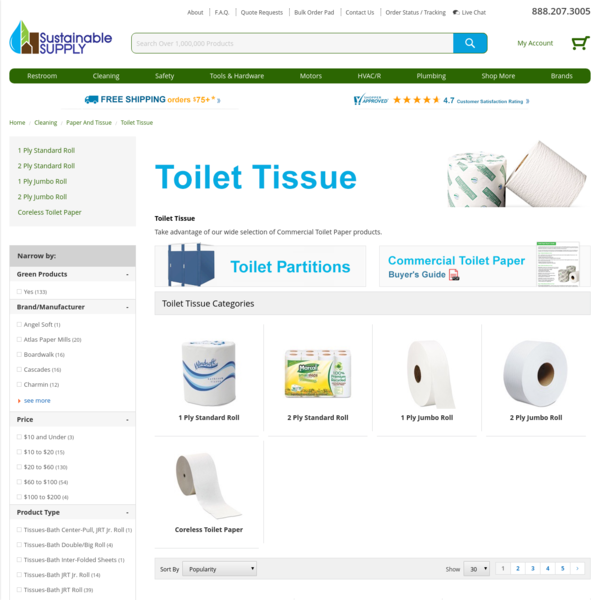 Bulk Recycled Toilet Paper | Green Toilet Paper | Eco-friendly Toilet Tissue | SustainableSupply.com Build. Work. Green.