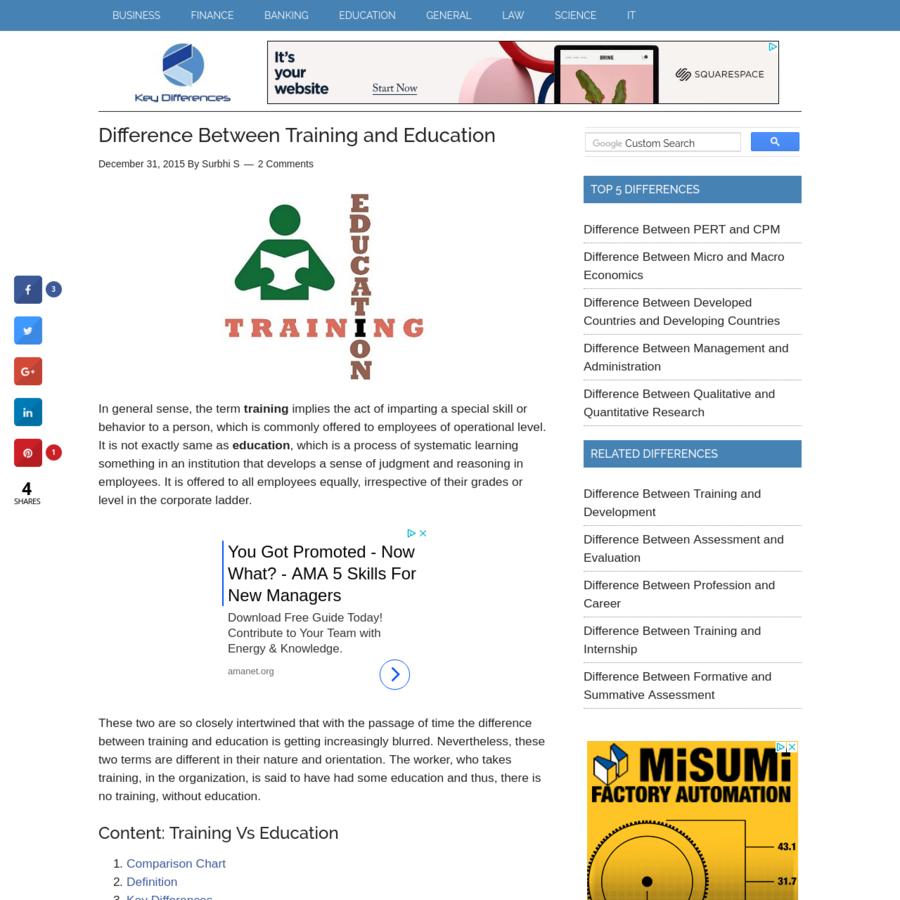 Education vs. Training