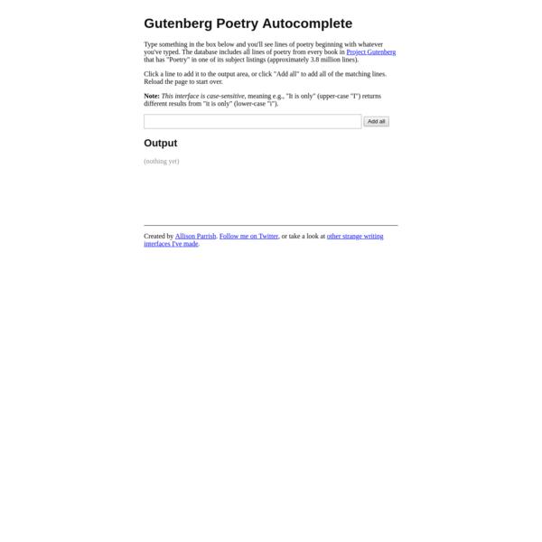 Gutenberg Poetry Autocomplete