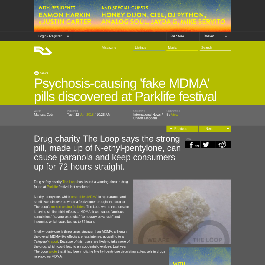Drug charity The Loop says the strong pill, made up of N-ethyl-pentylone, can cause paranoia and keep consumers up for 72 hours straight. Drug safety charity The Loop has issued a warning about a drug found at Parklife festival last weekend.