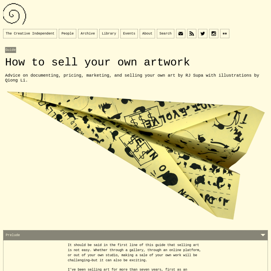 Advice on documenting, pricing, marketing, and selling your own art by RJ Supa with illustrations by Qiong Li.