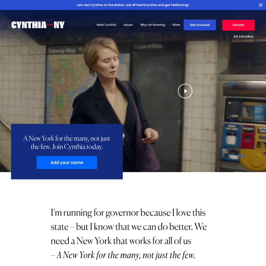 Cynthia Nixon is running for Governor of New York. Join her today!
