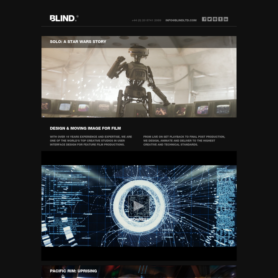 BLIND is a creative agency specialising in user interface design and moving image solutions for major feature films productions