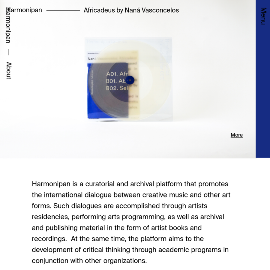Harmonipan is a curatorial and archival platform that promotes the international dialogue between modern music and other art forms. Such dialogues are accomplished through a diverse range of projects: from music research, artists residencies, production of live performances/touring, publications and recordings.