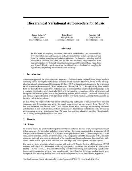 Are na / Hierarchical Variational Autoencoders for Music