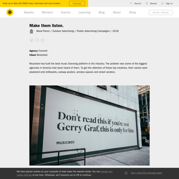 Make them listen. | Counsel | Musicbed | D&AD Awards 2018 Pencil Winner | Poster Advertising Campaigns | D&AD