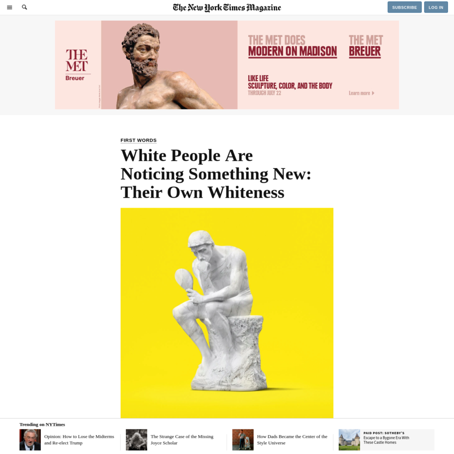 """Being white in America has long been treated, at least by white people, as too familiar to be of much interest. It's been the default identity, the cultural wallpaper - something described, when described at all, using bland metaphors like milk and vanilla and codes like """"cornfed"""" and """"all-American."""""""