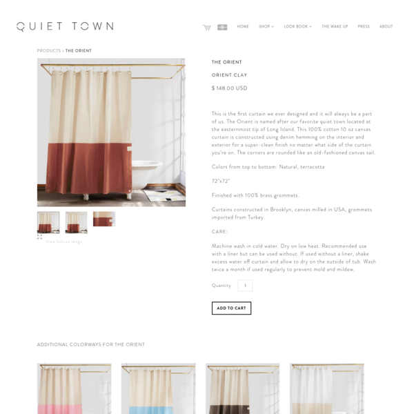 Orient Clay | Color-Blocked Shower Curtain | Quiet Town