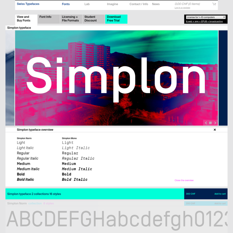 View and Buy Fonts Font Info Licensing + File Formats Student Discount Download Free Trial