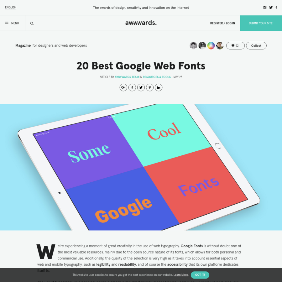 We're experiencing a moment of great creativity in the use of web typography. Google Fonts is without doubt one of the most valuable resources, mainly due to the open source nature...