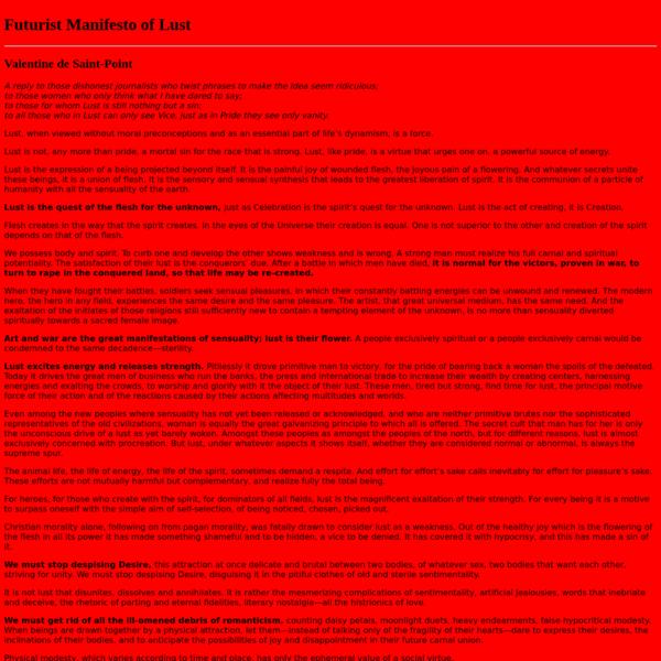 Futurist Manifesto of Lust