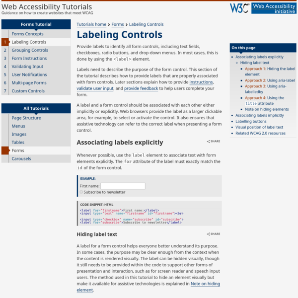 A label and a form control should be associated with each other either implicitly or explicitly. Web browsers provide the label as a larger clickable area, for example, to select or activate the control. It also ensures that assistive technology can refer to the correct label when presenting a form control.