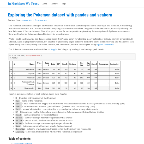 Exploring the Pokemon dataset with pandas and seaborn