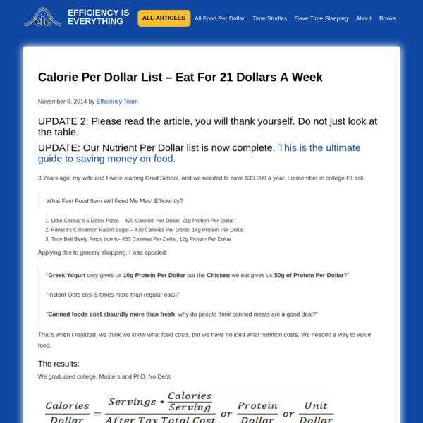 Find the cheapest, highest Calorie Per Dollar foods. We eat healthy and delicious food for 1,000 dollars a year - See the complete list.