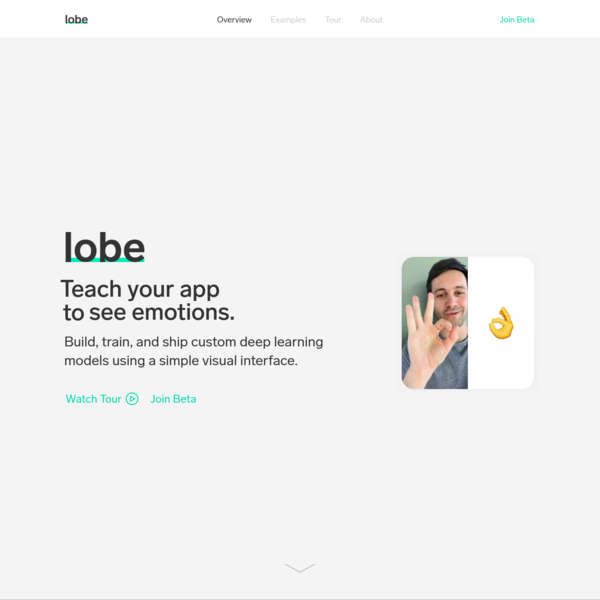 Lobe is an easy-to-use visual tool that lets you build custom deep learning models, quickly train them, and ship them directly in your app without writing any code.