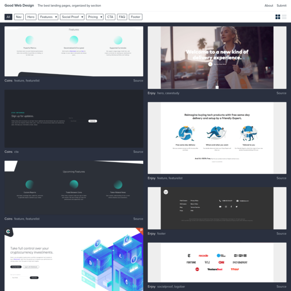 Reference the best landing page design patterns