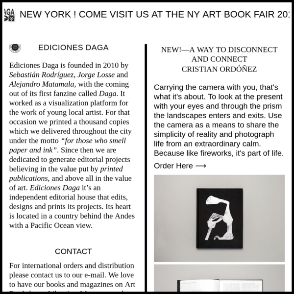 Ediciones Daga - Artists books and magazines since 2010. Art books, Magazines, Chile, Southamerica, artitst