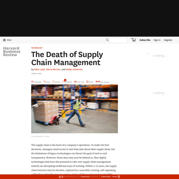 Executive Summary The supply chain is the heart of a company's operations. To make the best decisions, managers need access to real-time data about their supply chain, but the limitations of legacy technologies can thwart the goal of end-to-end transparency. However, those days may soon be behind us.