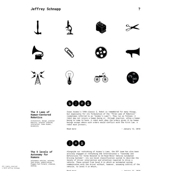 The personal webpage of Jeffrey Schnapp; CEO of Piaggio Fast Forward; Harvard professor; faculty director, metaLAB (at) Harvard