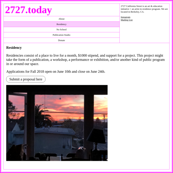 2727 California Street is an art & education initiative + an artist in residence program. We are located in Berkeley, CA.