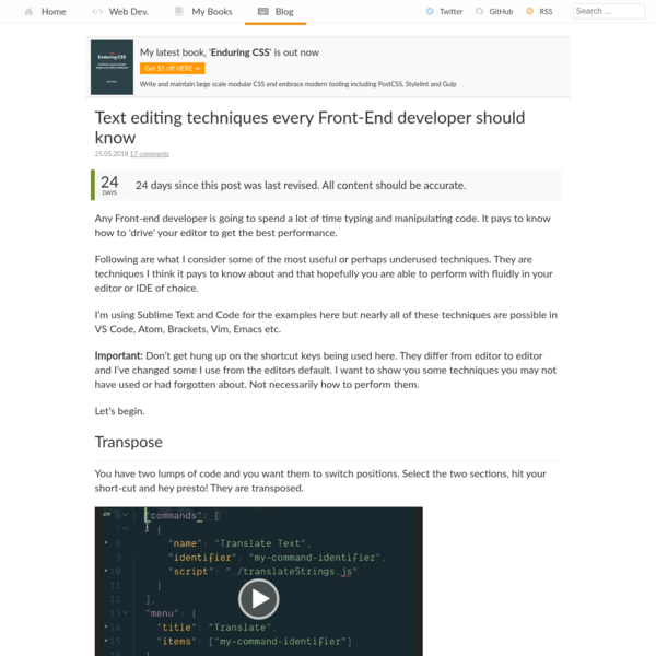 Text editing techniques every Front-End developer should know