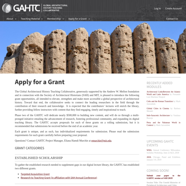 The Global Architectural History Teaching Collaborative, generously supported by the Andrew W. Mellon foundation and in connection with the Society of Architectural Historians (SAH) and MIT, is pleased to introduce the following grant opportunities, all intended to elevate, strengthen and make more accessible a global perspective of architectural history.