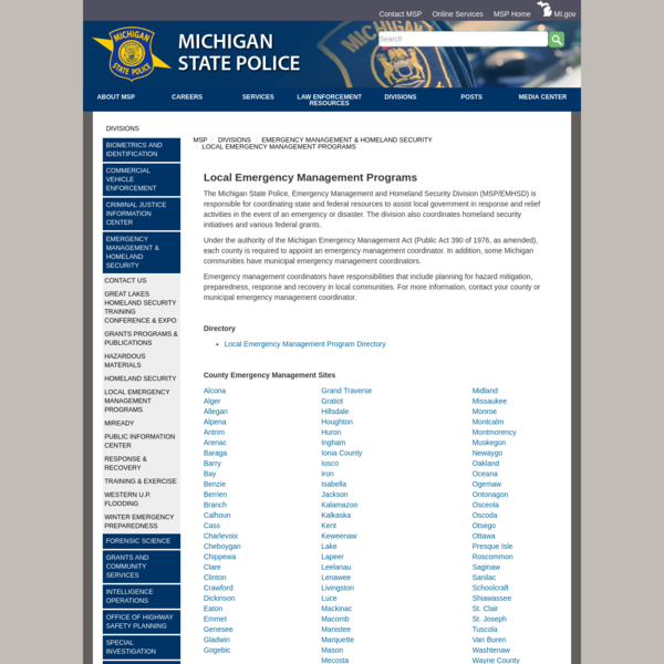 Michigan State Police - Local Emergency Management Programs